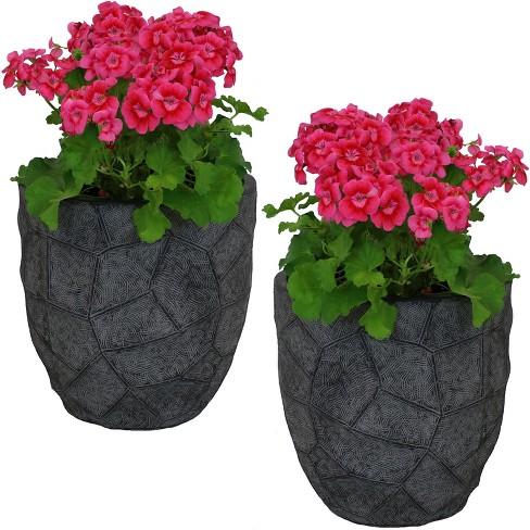"2pc Homestead Fiber Clay Planter Set - 12"" - Dark Gray - Sunnydaze Decor - image 1 of 4"
