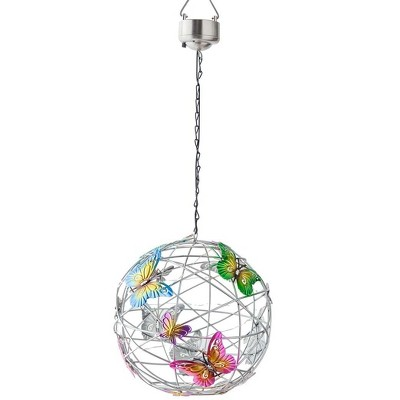 Wind & Weather Solar Lighted Hanging Mesh Orb with Colorful Butterflies
