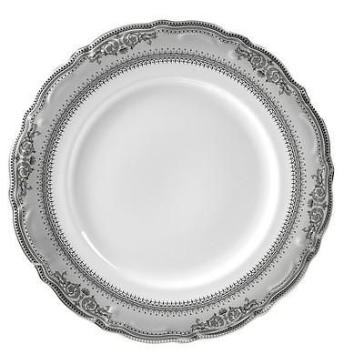 Vanessa Dinner Plate Platinum 10.75 x10.75  Set of 6 - 10 Strawberry Street