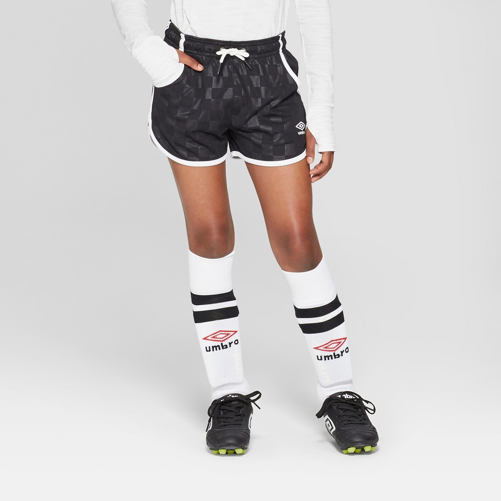 Umbro Girls' Checkerboard Dolphin Shorts - Black XL
