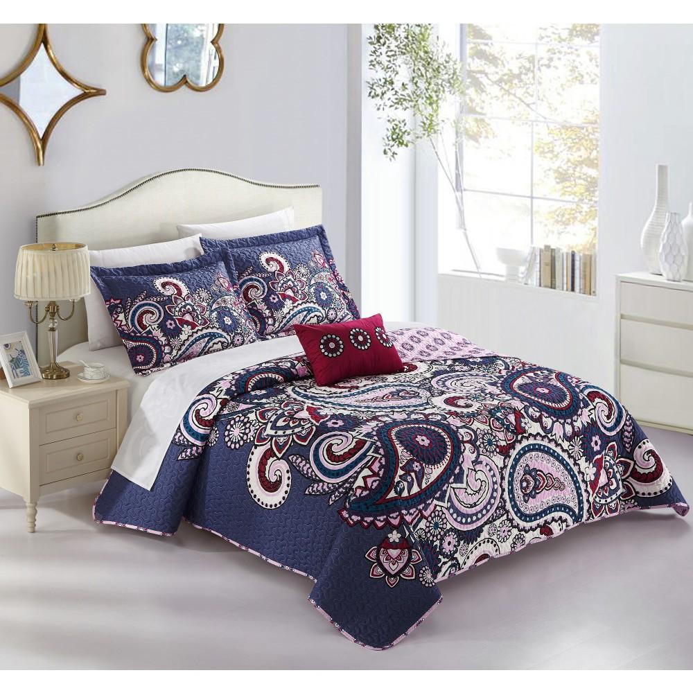 King 4pc Gaara Quilt Set Blue - Chic Home