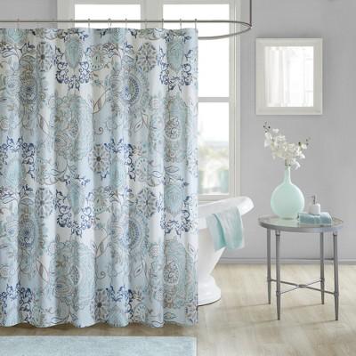Lian Cotton Printed Shower Curtain Blue