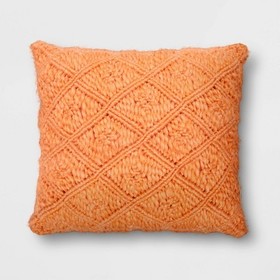 Square Heathered Macrame Pillow Coral - Opalhouse™