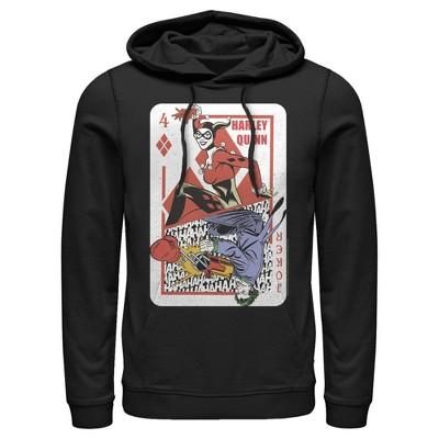 Men's Batman Harley Quinn Joker Poker Card Pull Over Hoodie