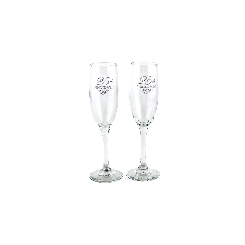 Image of 2ct 25th Anniversary Champagne Flutes