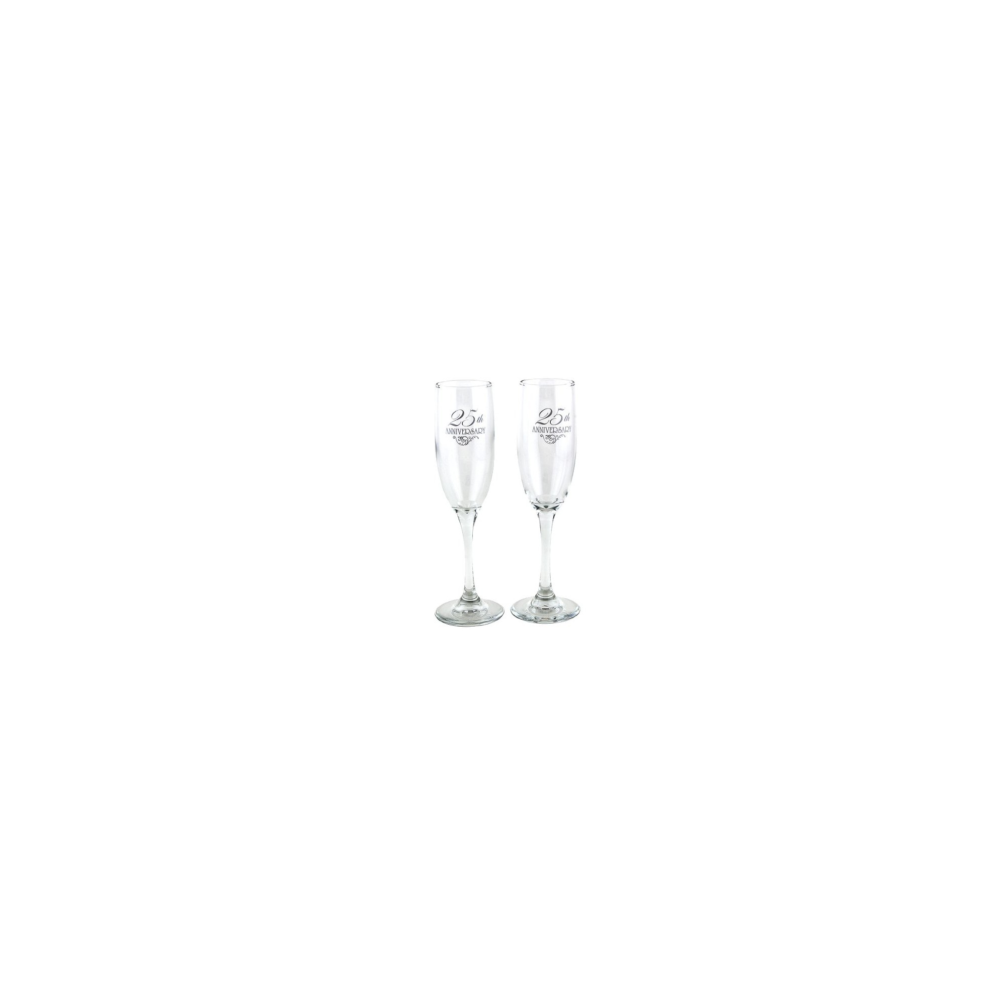 2ct 25th Anniversary Champagne Flutes