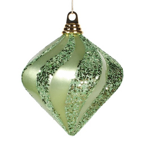 "6"" Celadon Glitter Swirl Diamond Christmas Ornament - image 1 of 1"