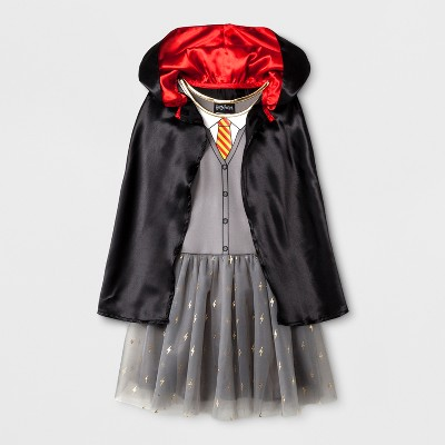 Girls' Harry Potter Gryffindor Costume Dress - Gray/Black XS
