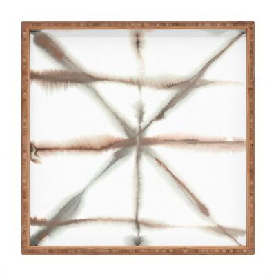 Jacqueline Maldonado Light Dye Folding Taupe Square Bamboo Tray - Deny Designs