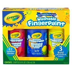 Crayola 3ct 8oz Washable Fingerpaint - Bold Colors