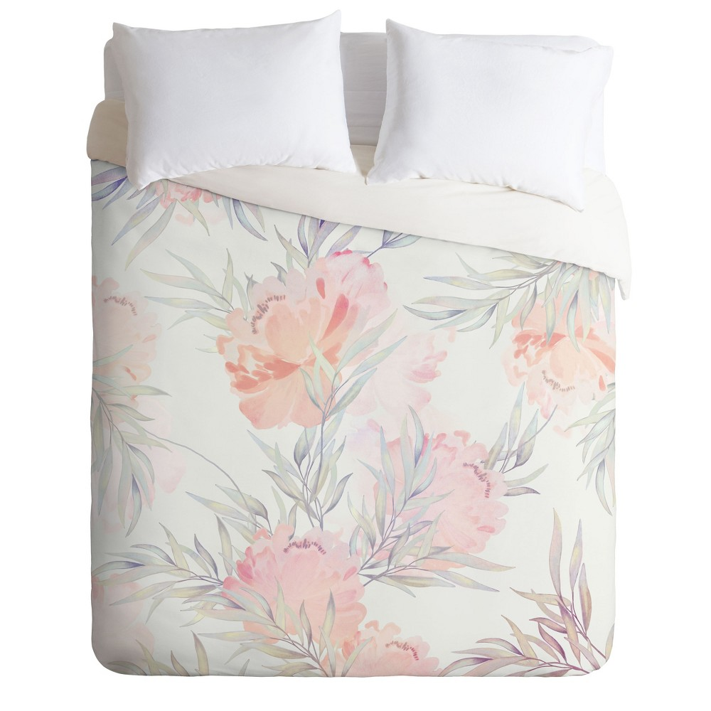Twin/Twin XL Iveta Abolina Cecille Floral Duvet Set Pink - Deny Designs