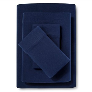 Jersey Sheet Set - (King) Navy - Room Essentials , Solid Blue