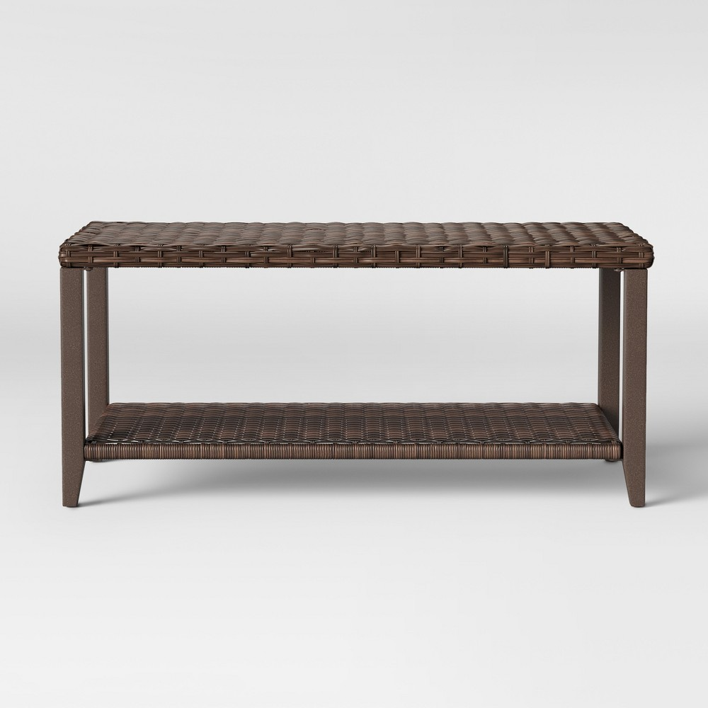 Halsted Wicker Rectangle Patio Coffee Table Brown Threshold 8482