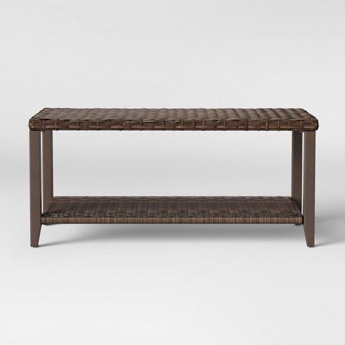 Halsted Wicker Rectangle Patio Coffee Table Brown Threshold