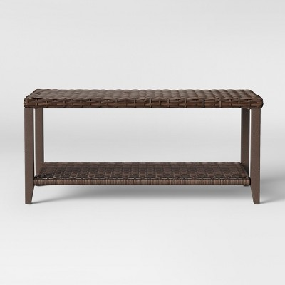 Halsted Wicker Rectangle Patio Coffee Table   Brown   Threshold™ : Target