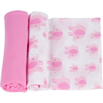 MiracleWare Muslin Swaddle Elephant Pink - 2pk