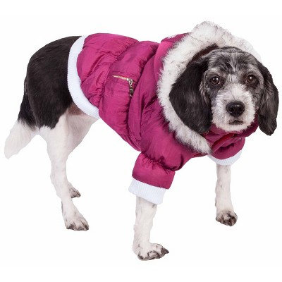 Pet Life Metallic Fashion Dog and Cat Parka Coat - Pink