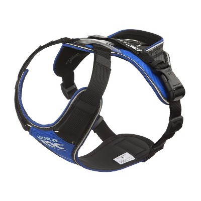 Julius-K9 19LWH-GR-L IDC Longwalk Reflective No Pull Dog Walking Vest Harness for Large Sized Dogs from 26 to 33.8 Pounds, Size L, Blue and Gray