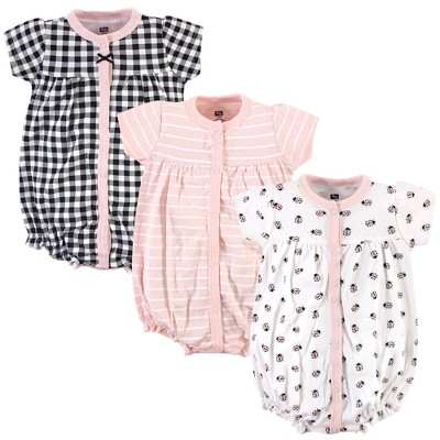 Hudson Baby Infant Girl Cotton Rompers 3pk, Ladybug