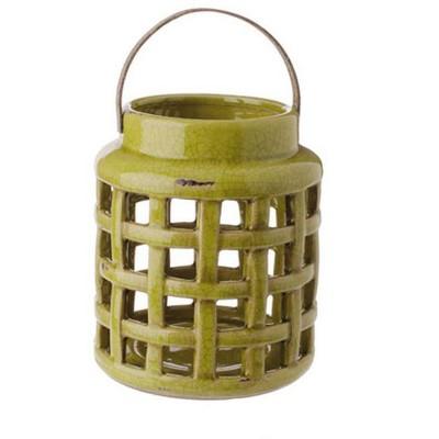 "Raz Imports 8.25"" Tea Garden Caladium Leaf Green Glazed Terracotta Crackled Decorative Pillar Candle Lantern"
