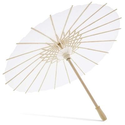 12-Pack White Paper Umbrella Parasols for DIY Crafts, Wedding Decor, and Centerpieces, 15.5 inch Diameter