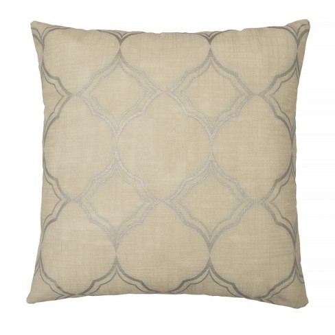 Pemberly Embroidered Geo Throw Pillow Beige - Beautyrest - image 1 of 3