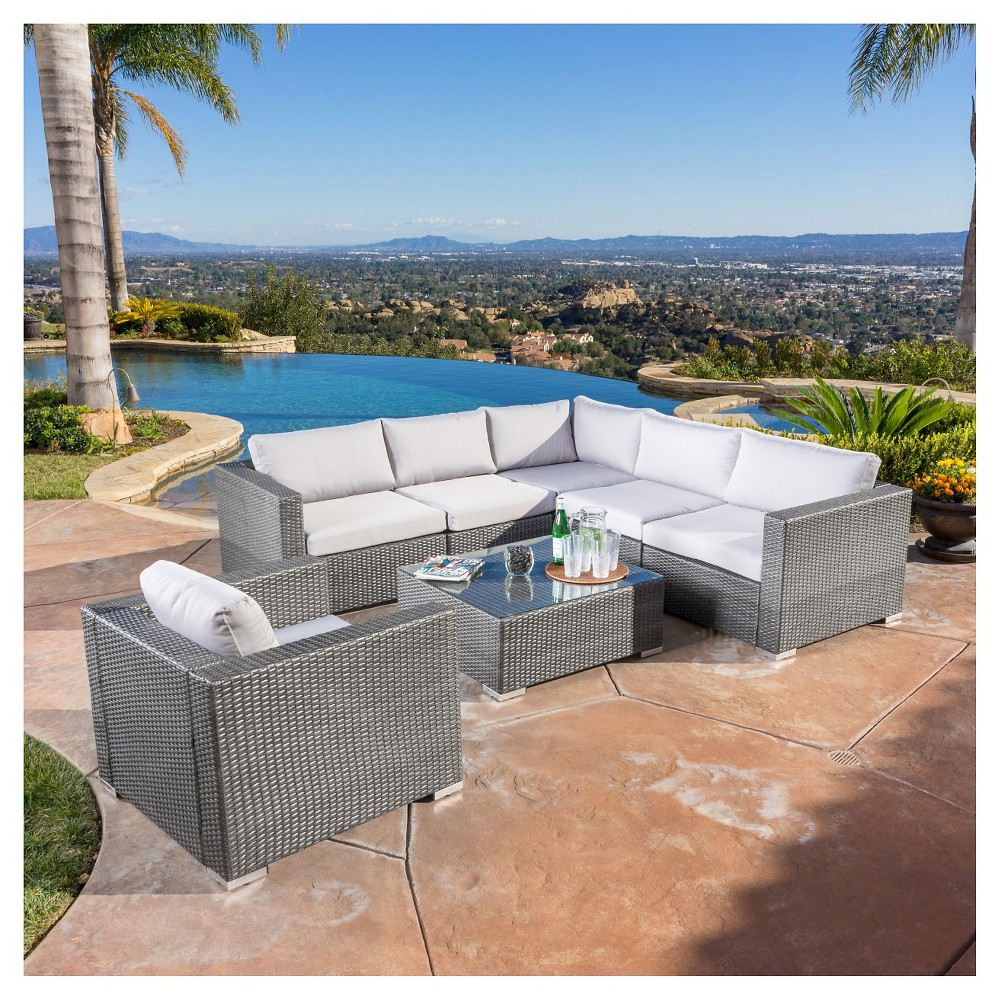 Santa Rosa 7pc Wicker Patio Seating Sectional Set with Cushions - Gray with Silver Gray Cushions - Christopher Knight Home, Grey