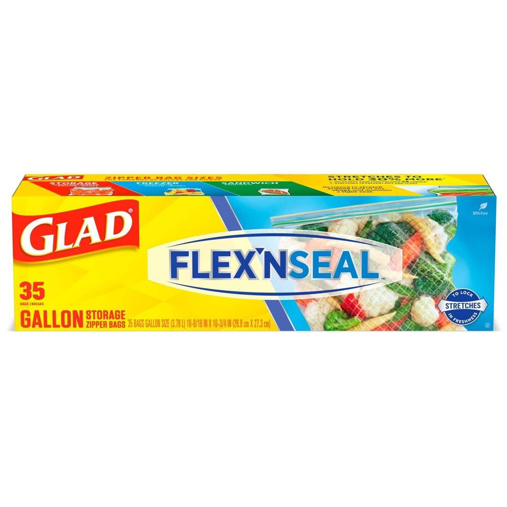 Glad Flex 39 N Seal Food Storage Plastic Bags 1 Gallon 35ct