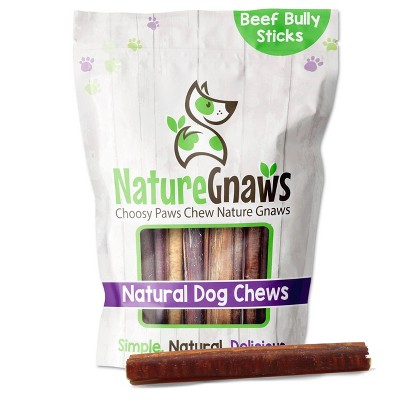 "Nature Gnaws Large Bully Sticks 5-6"" Beef Dog Treats- 10ct"