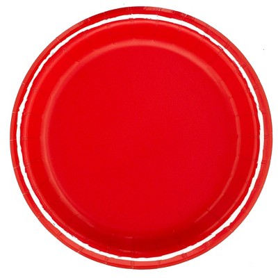 "8.5"" 20ct Solid Disposable Dinner Plates Red - Spritz™"