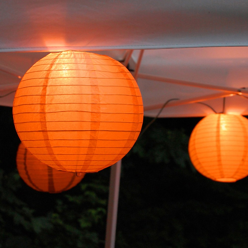 Image of 10ct Lumabase Orange Electric String Light with 10 Paper Lanterns