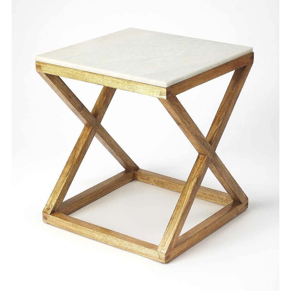 Braylon Marble & Wood End Table Natural - Butler Specialty
