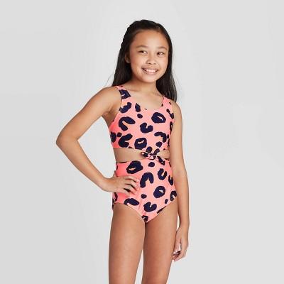 Girls' Tie-Front Animal Print One Piece Swimsuit - art class™ Pink