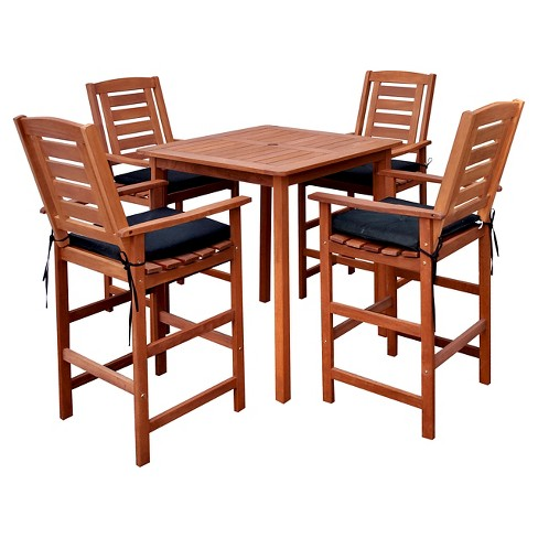 Miramar 5pc Square Wood Patio Bar Height Dining Set - Cinnamon Brown/Black  - CorLiving