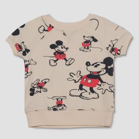 13c54461eea Junk Food Toddler Boys  Disney Mickey Mouse Print Short Sleeve T-Shirt -  Ivory