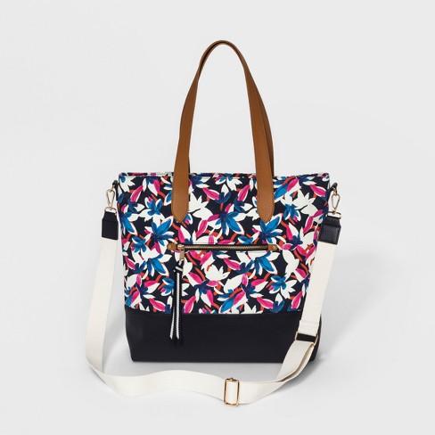 Floral Print Canvas Tote Handbag - A New Day™ Navy   Target cd9924a710657