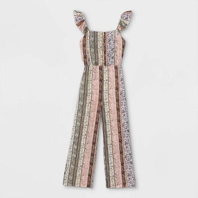 Girls' Button-Front Ruffle Shoulder Sleeveless Jumpsuit - art class™