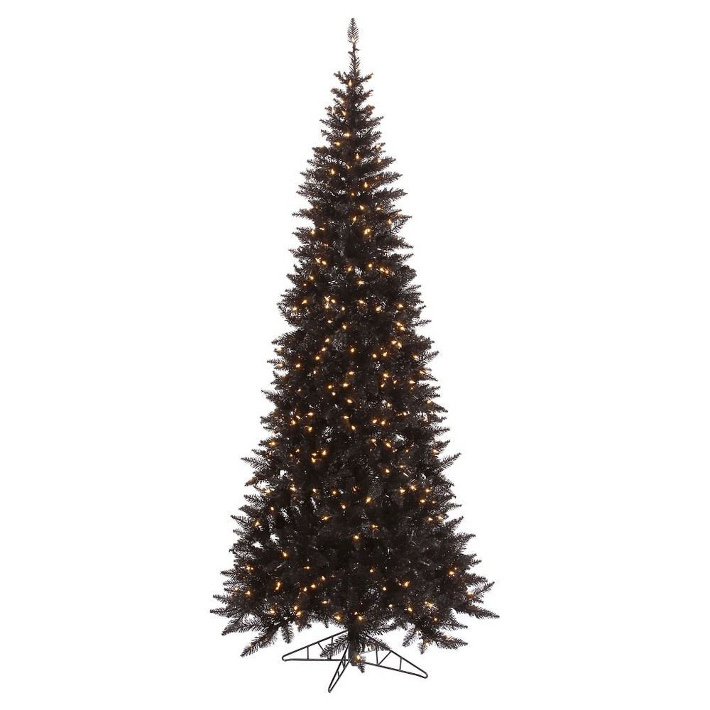 4.5ft Pre - Lit Artificial Christmas Tree Black Slim Fir - Clear Lights