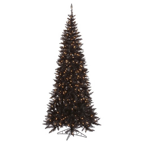 4.5ft Pre - Lit Artificial Christmas Tree Black Slim Fir - Clear Lights - image 1 of 1