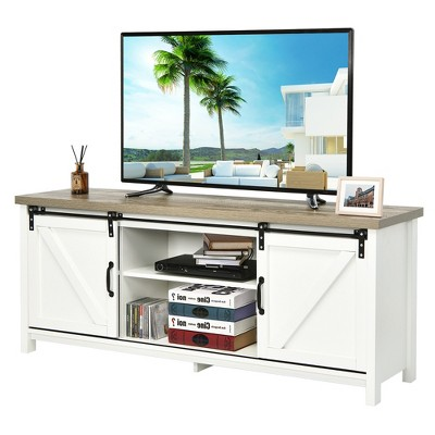 Costway TV Stand Media Center Console Cabinet Sliding Barn Door for TV's 60''