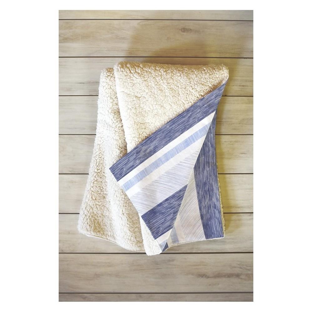 "Image of ""60""""x50"""" Pimlada Phuapradit Painted Stripe Fleece Throw Blanket Blue - Deny Designs"""