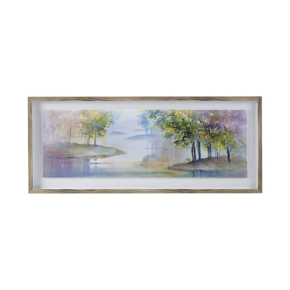 Image of Meandering Lake Glass Framed Graphic Scenery with Single Floating Mat