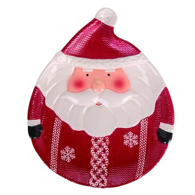 Transpac Dolomite 13 in. Red Christmas Santa Plate
