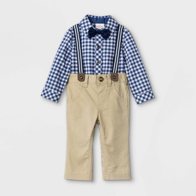 Baby Boys' Gingham Suspender Top & Bottom Set with Bowtie - Cat & Jack™ Dusty Blue 3-6M