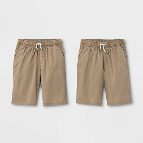 Boys' 2pk Pull-On Woven Shorts - Cat & Jack™ Light Khaki/Light Khaki - image 1 of 2