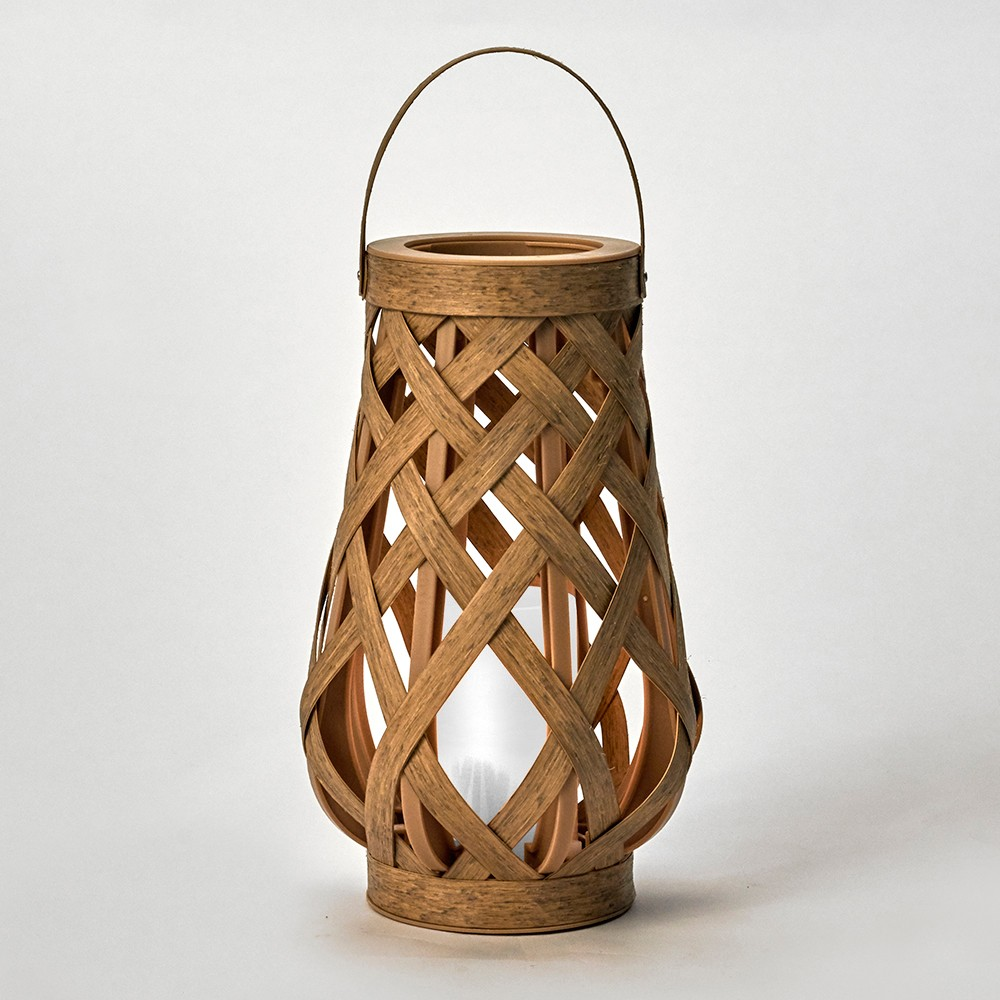 "Image of ""10"""" Rattan Outdoor Lantern LED Candle Natural - Opalhouse"""