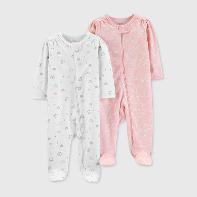 Baby Girls' 2pk Footed Sleepers - Just One You® made by carter's Pink/White 9M