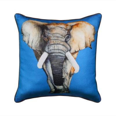"24"" Elephant Reversible Square Pillow Blue - Edie@Home"