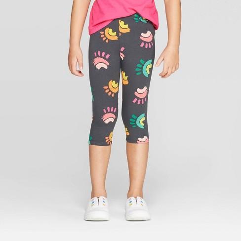 00628dfb4225a Toddler Girls' Rainbow Printed Capri Leggings - Cat & Jack™ Charcoal :  Target