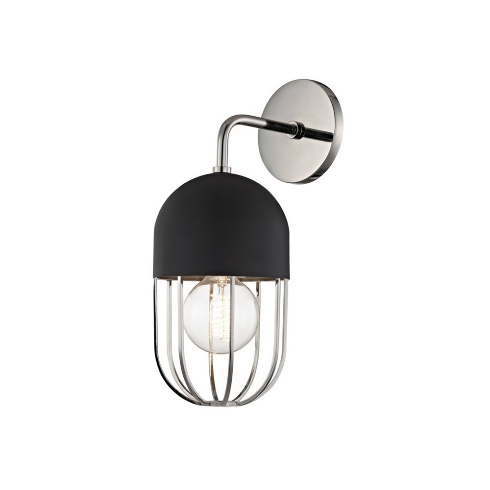 Haley 1-Light Wall Sconce Polished Nickel/Black - Mitzi by Hudson Valley Buy